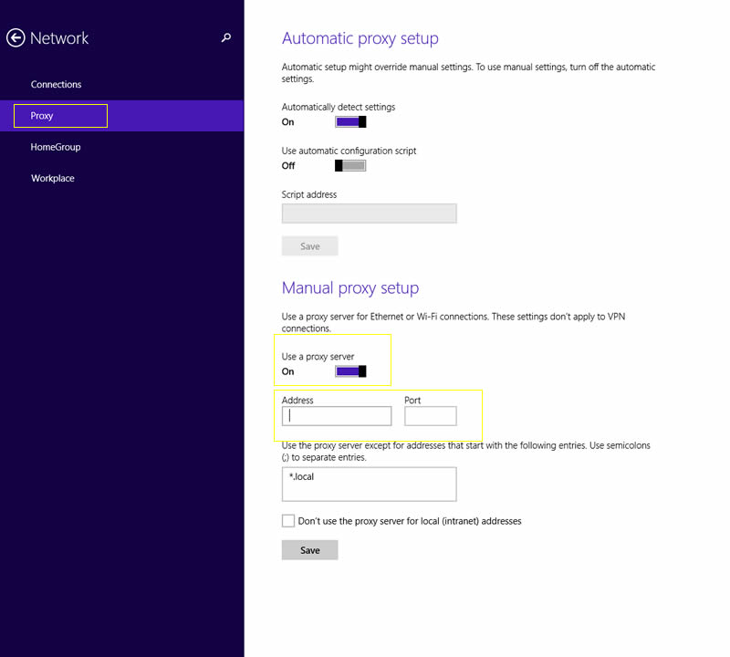 Configure Proxy Server Settings in Windows 8.1